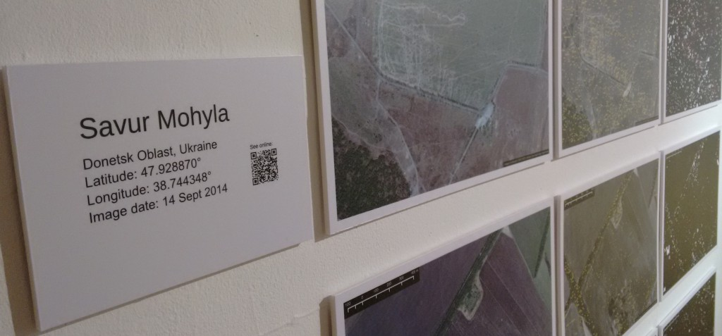 Close up of Rudiment's exhibit at Notes from Technotopia, showing satellite imagery of Savur Mohyla